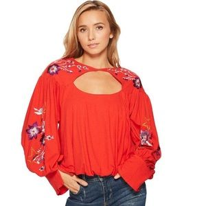 Free People floral Lolita poet sleeve small blouse